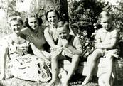 Evdokia Petrov (at left) with friends, 1958.